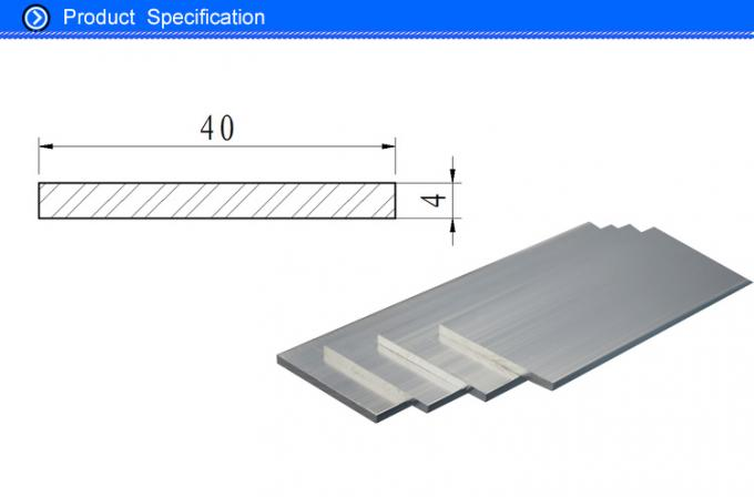 40mm Silver Oxidation Aluminium Flat Bar , 6063 Anodized Aluminum Extrusion Solid Bar Profiles