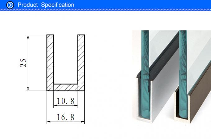 aluminium channel for 8mm glass