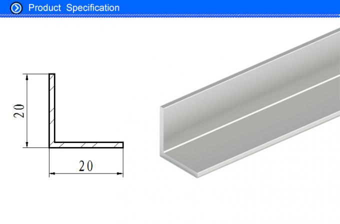 Natural Silver Anodised Aluminium Angle for 12 Watt Led Light Panel 20 X 20 X 1.5 MM