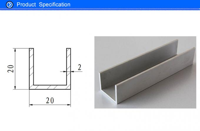 6063 Aluminum U Shaped Channel , Anodized Aluminum U Channel Guide Railing 20x 20 Mm