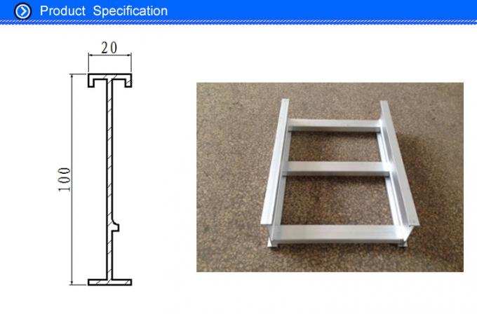 100MM Width Waterproof Extrusion Aluminum I Beam Profile for Cable Tray Easy Installed