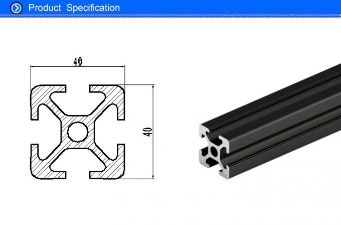 T Slot Black Anodized Structural Aluminum Beams With Square Hollow 6000 series Material