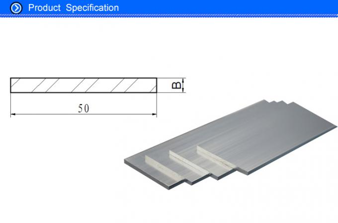 50MM Width Extrusion Aluminium Flat Bar with Silver Anodizing Color for Home Decoration Parts