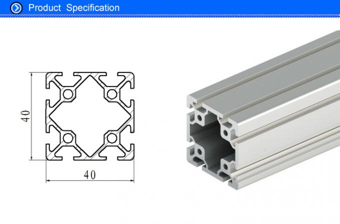 40 X 40 MM Extruded Aluminum Rails with T - Slots , Custom Industrial Aluminium Shapes