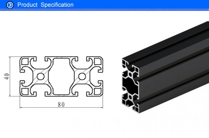 Black Anodised V Slot Aluminum Extrusion Section For