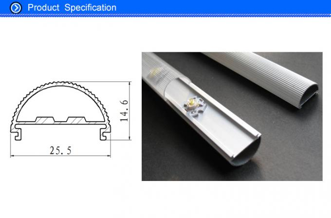 Half Round LED Strip Aluminium Extrusion Cover Bar With 6063 6061 T8 Material