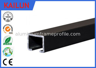 China Black Anodized Aluminum Slide Track , Ceiling Mounted Curtain Track 20 X 25 Mm supplier