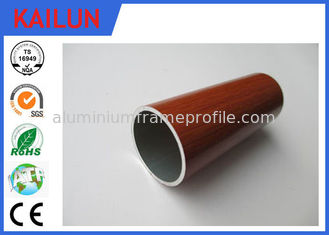 China Home Decoration 30 mm Extruded Aluminium Tube With Wood Grain Painted Treatment supplier