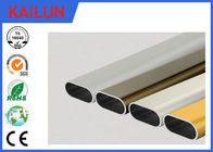 Flat Oval Aluminum Tubing , Cutting 6061 Powder Coated Aluminum Extrusion Tube